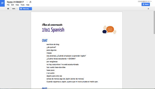 1to1spanish quiz1
