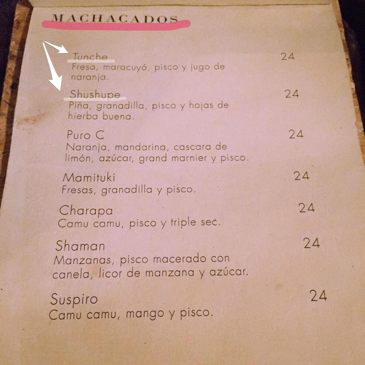 Ayahuaca drinkmenu